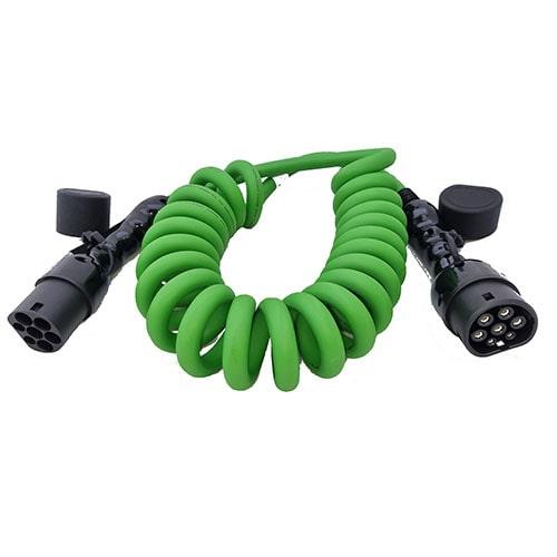 3-EV Typ 2 -> Typ 2 spiral (3x32A) Laddkabel